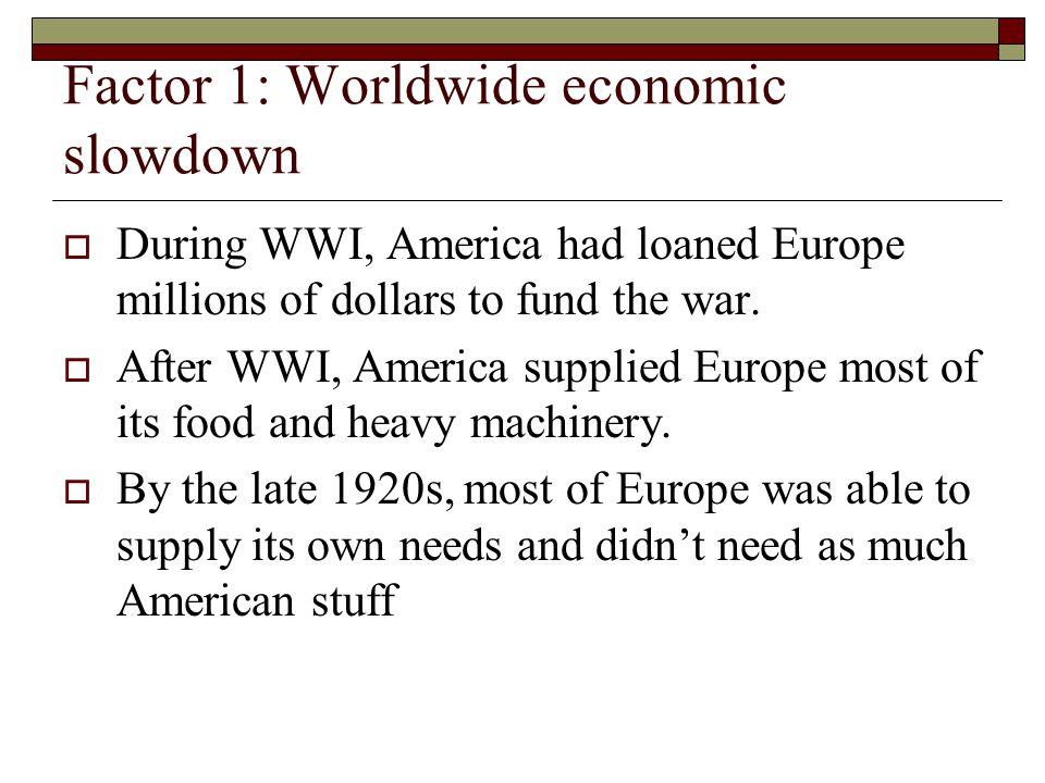 Factor 1: Worldwide economic slowdown