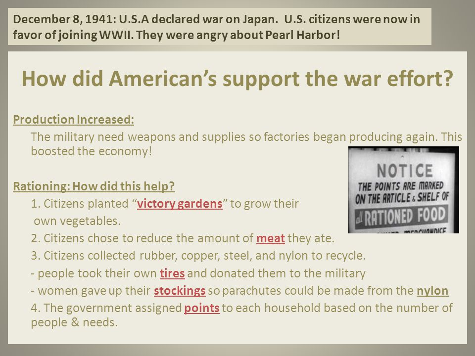 How did American's support the war effort