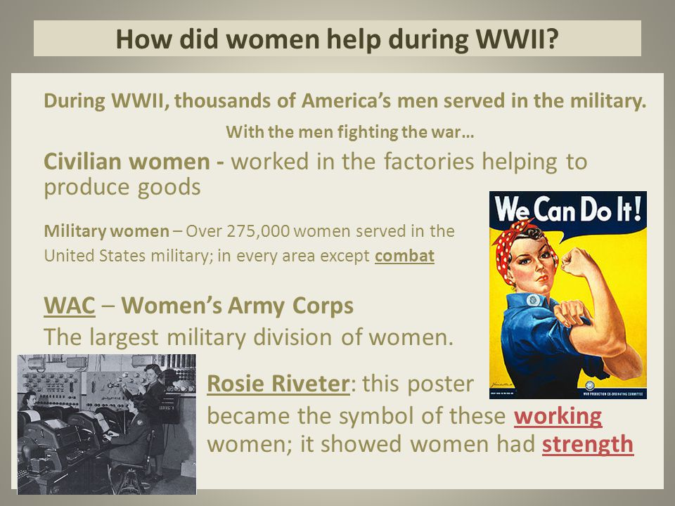 How did women help during WWII