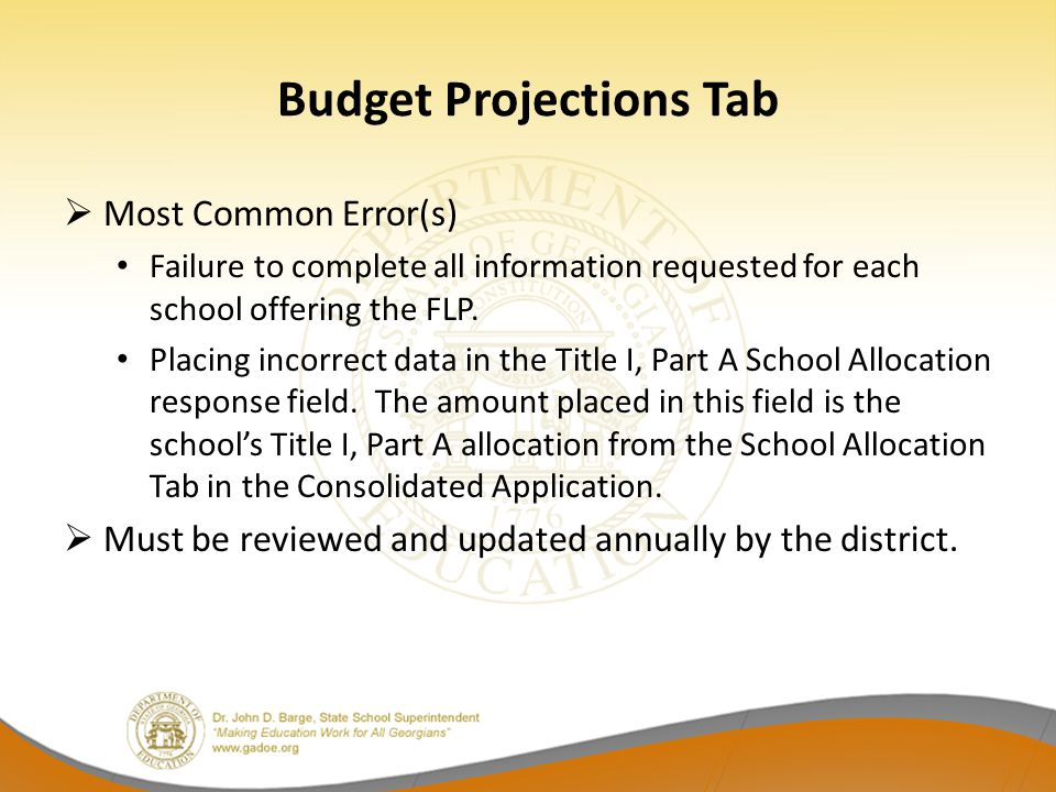 Budget Projections Tab