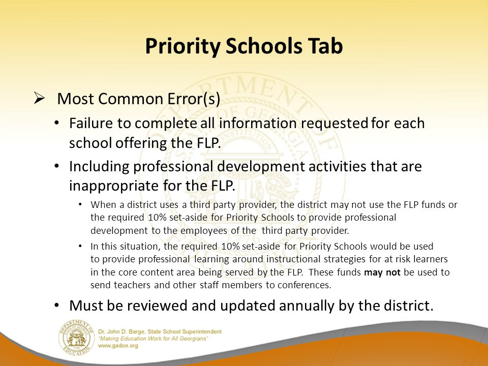 Priority Schools Tab Most Common Error(s)