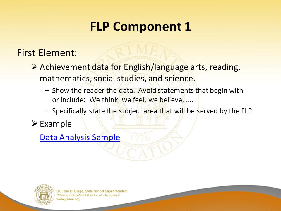 FLP Component 1 First Element: