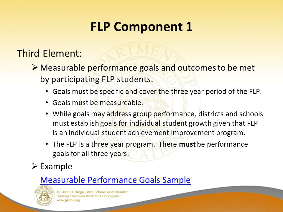 FLP Component 1 Third Element: