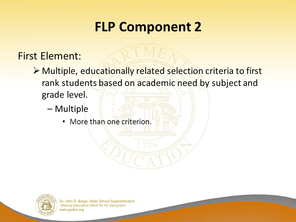 FLP Component 2 First Element: