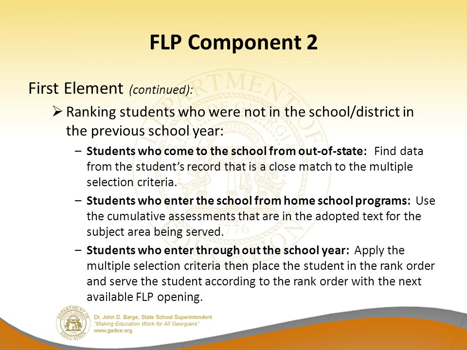 FLP Component 2 First Element (continued):