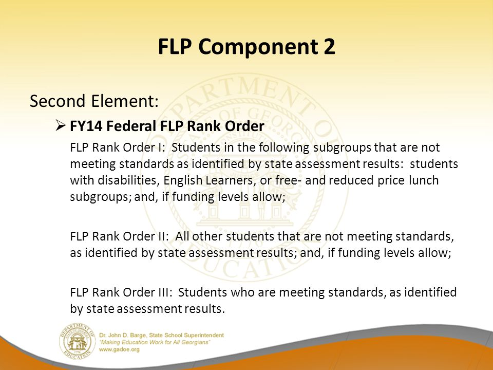 FLP Component 2 Second Element: FY14 Federal FLP Rank Order
