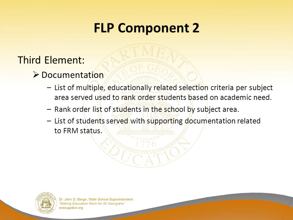 FLP Component 2 Third Element: Documentation