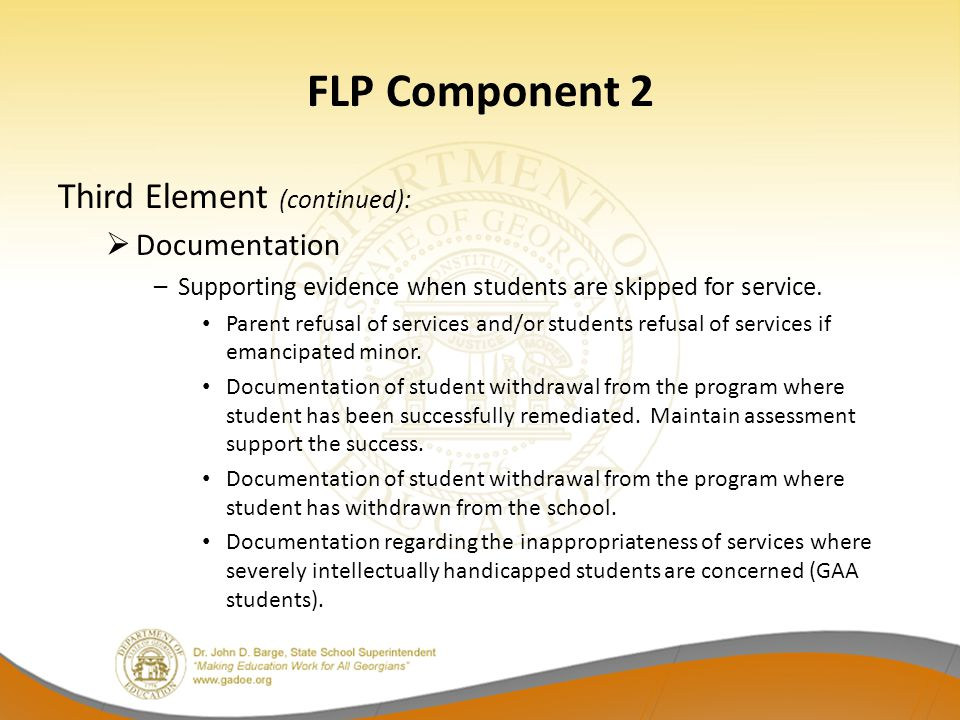 FLP Component 2 Third Element (continued): Documentation