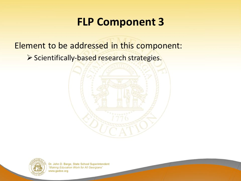 FLP Component 3 Element to be addressed in this component: