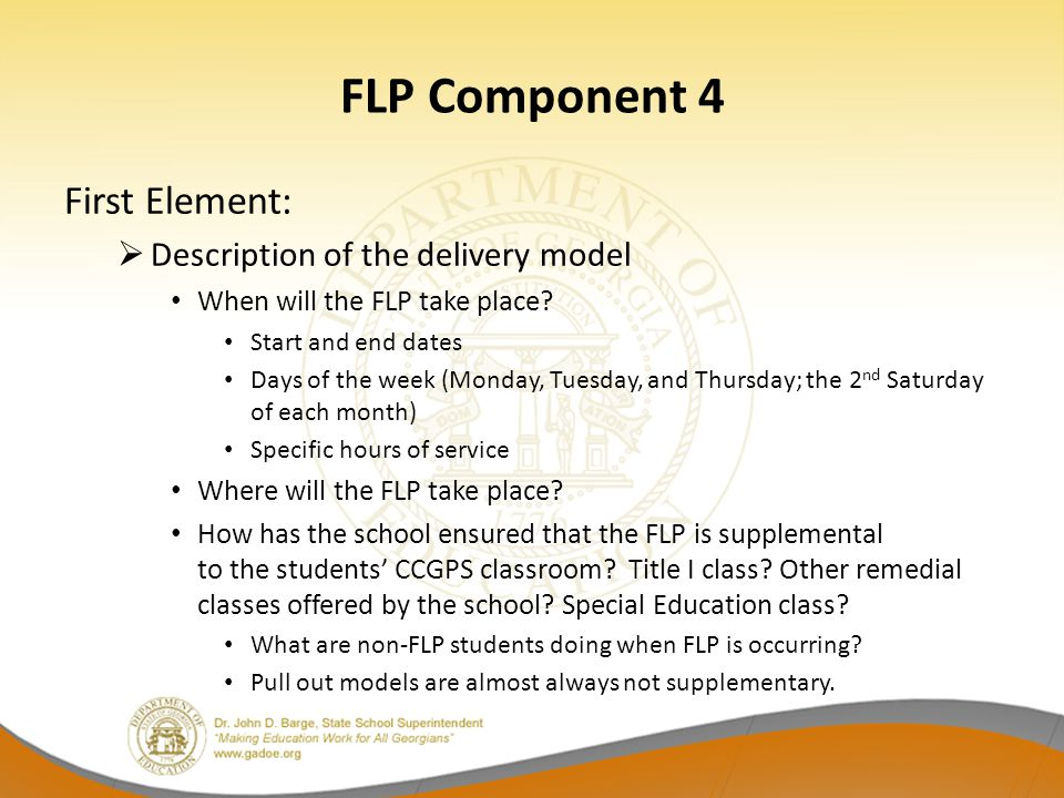 FLP Component 4 First Element: Description of the delivery model