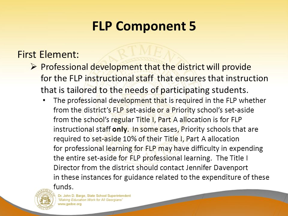 FLP Component 5 First Element: