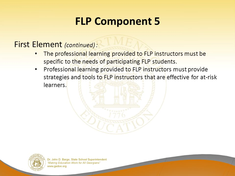 FLP Component 5 First Element (continued) :