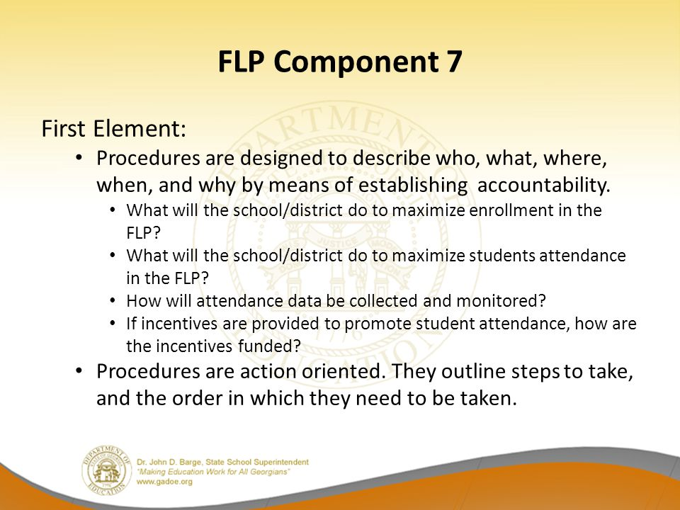 FLP Component 7 First Element: