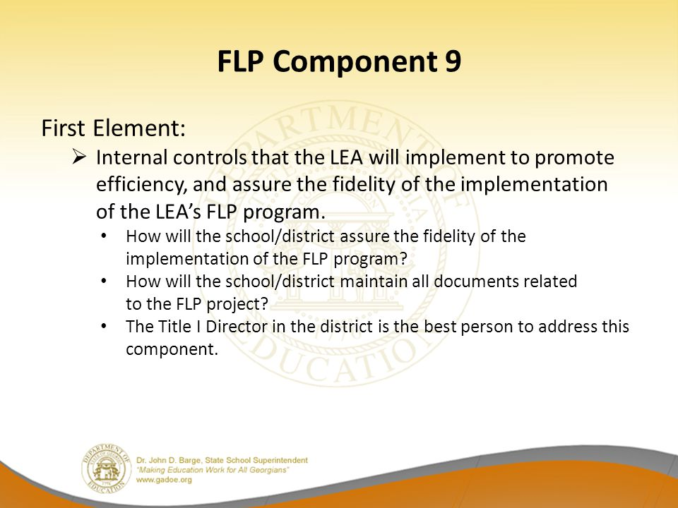 FLP Component 9 First Element: