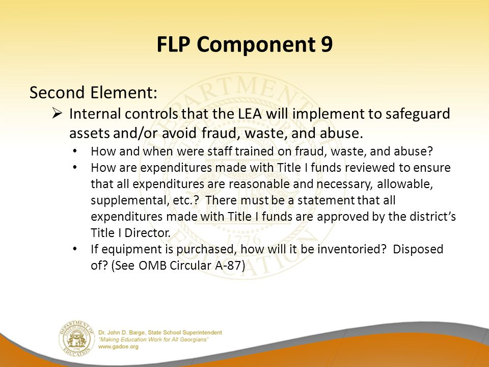 FLP Component 9 Second Element: