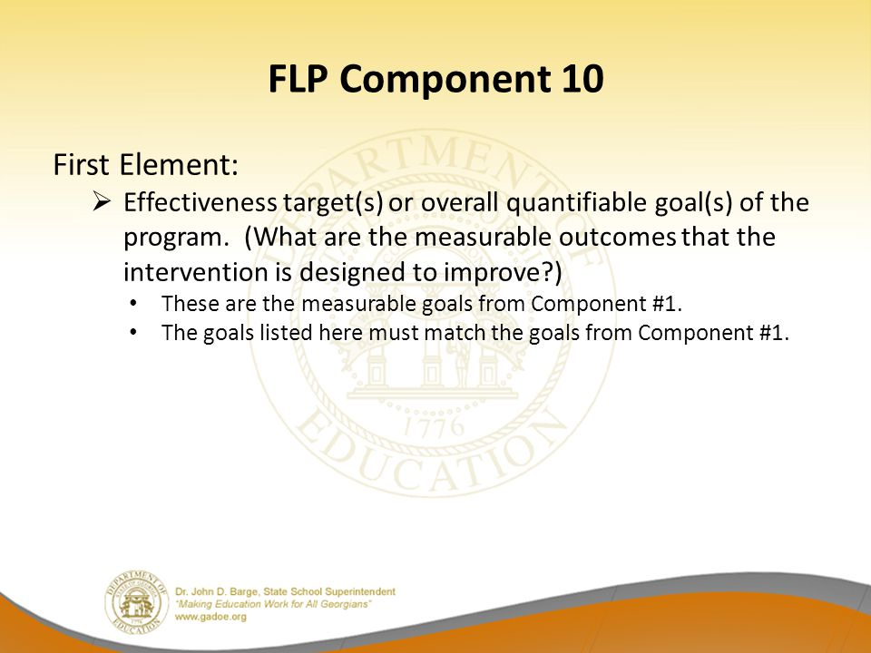 FLP Component 10 First Element: