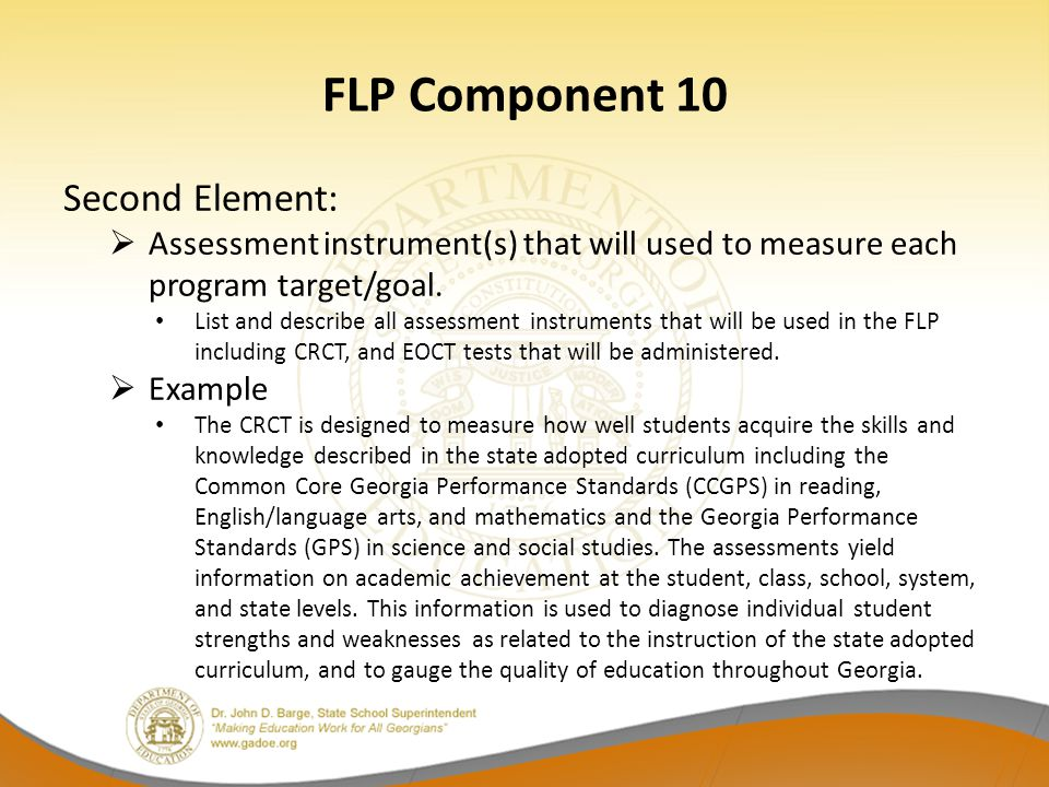 FLP Component 10 Second Element: