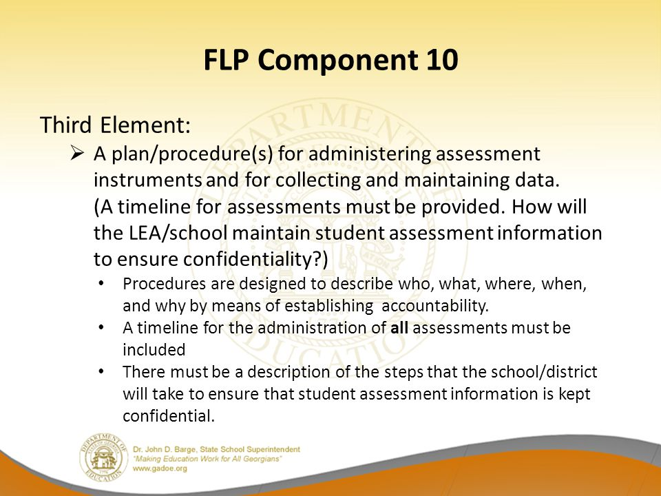 FLP Component 10 Third Element: