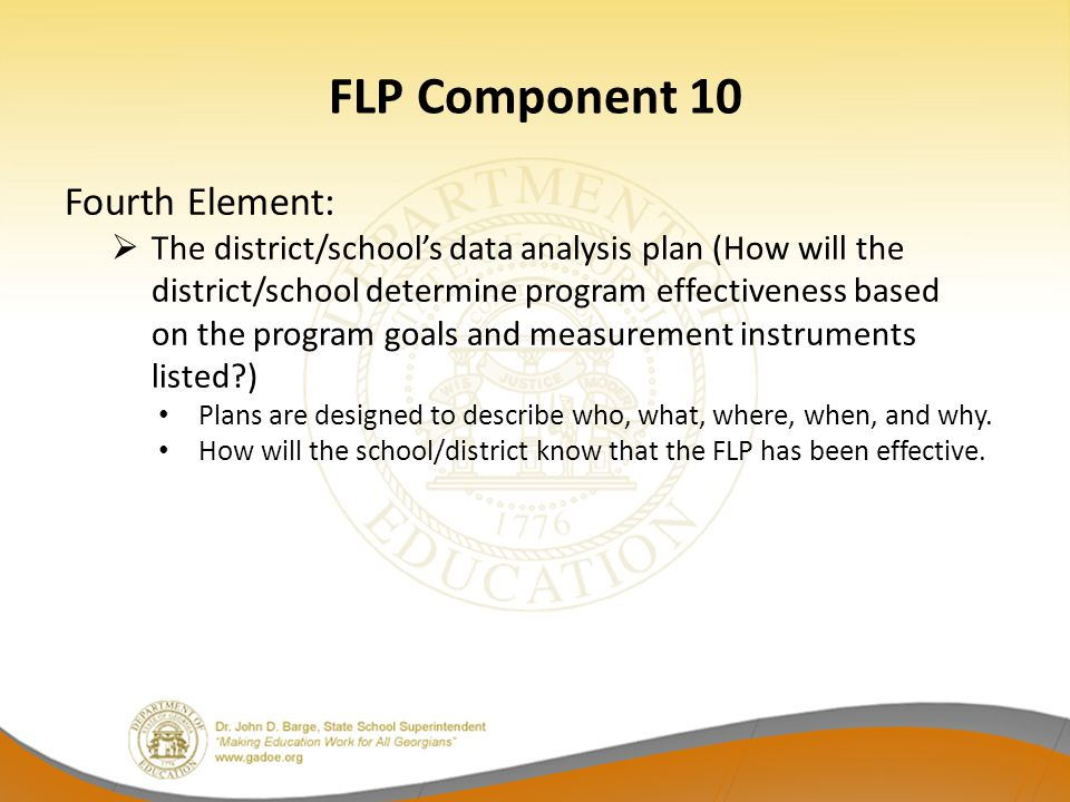FLP Component 10 Fourth Element: