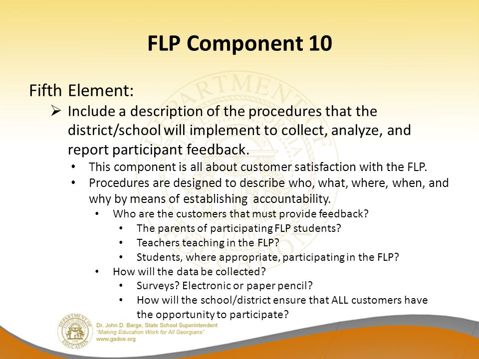 FLP Component 10 Fifth Element: