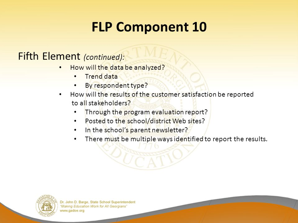 FLP Component 10 Fifth Element (continued):