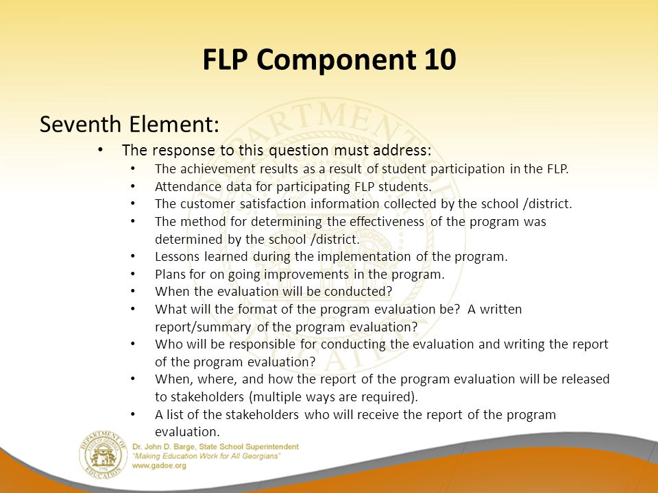 FLP Component 10 Seventh Element: