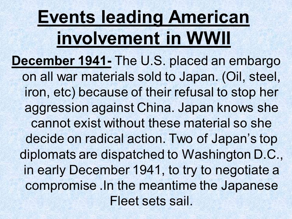 Events leading American involvement in WWII