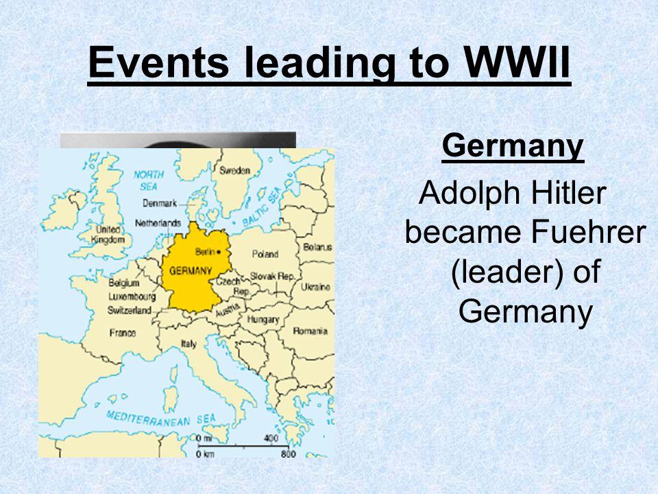 Adolph Hitler became Fuehrer (leader) of Germany