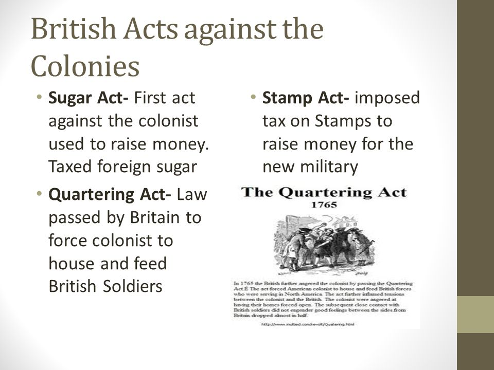 British Acts against the Colonies