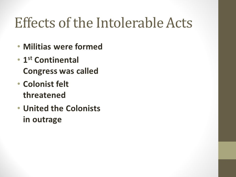Effects of the Intolerable Acts