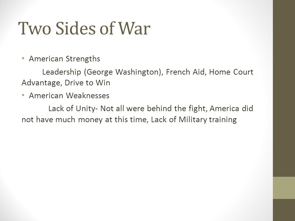 Two Sides of War American Strengths