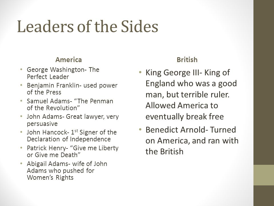 Leaders of the Sides America. British. George Washington- The Perfect Leader. Benjamin Franklin- used power of the Press.