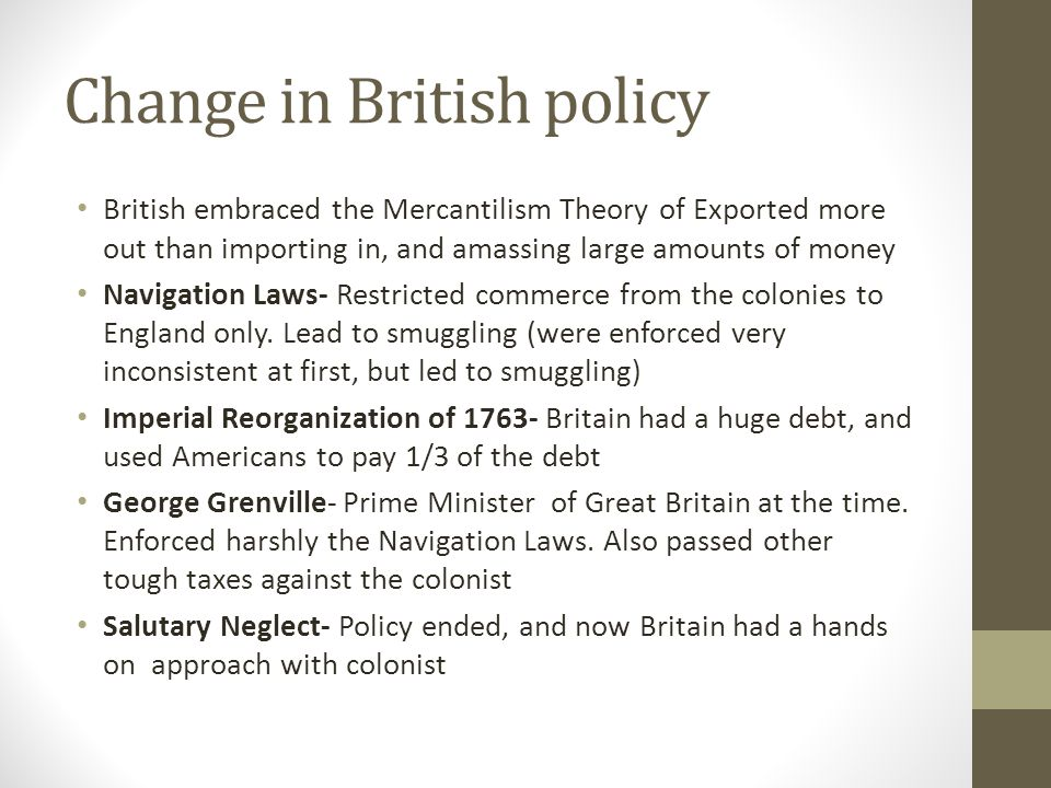 Change in British policy