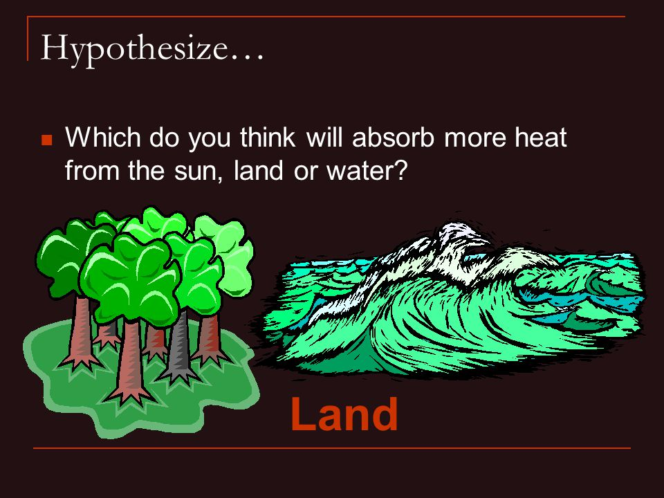 Hypothesize… Which do you think will absorb more heat from the sun, land or water Land
