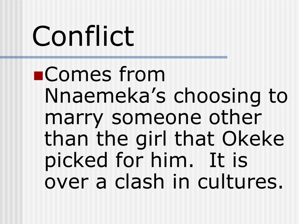 Conflict Comes from Nnaemeka's choosing to marry someone other than the girl that Okeke picked for him.