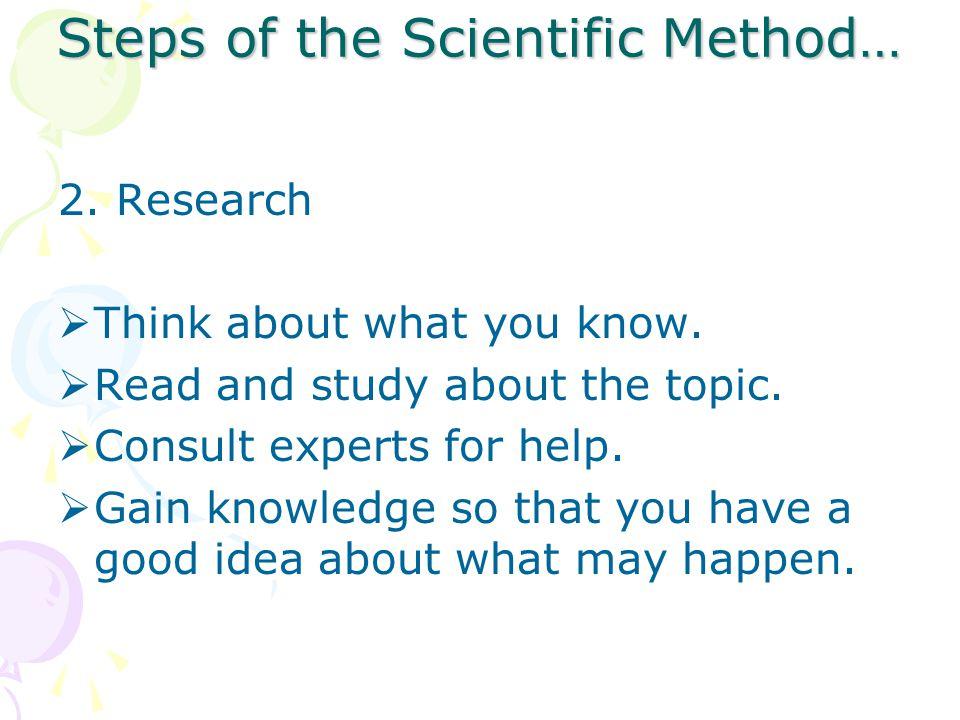 Steps of the Scientific Method…