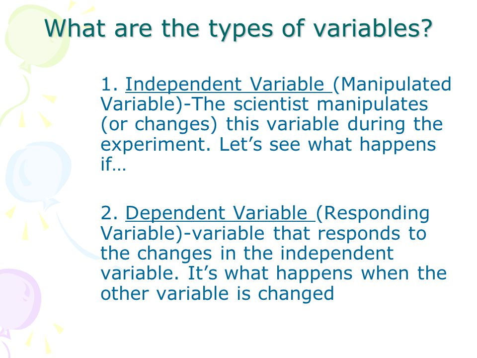 What are the types of variables