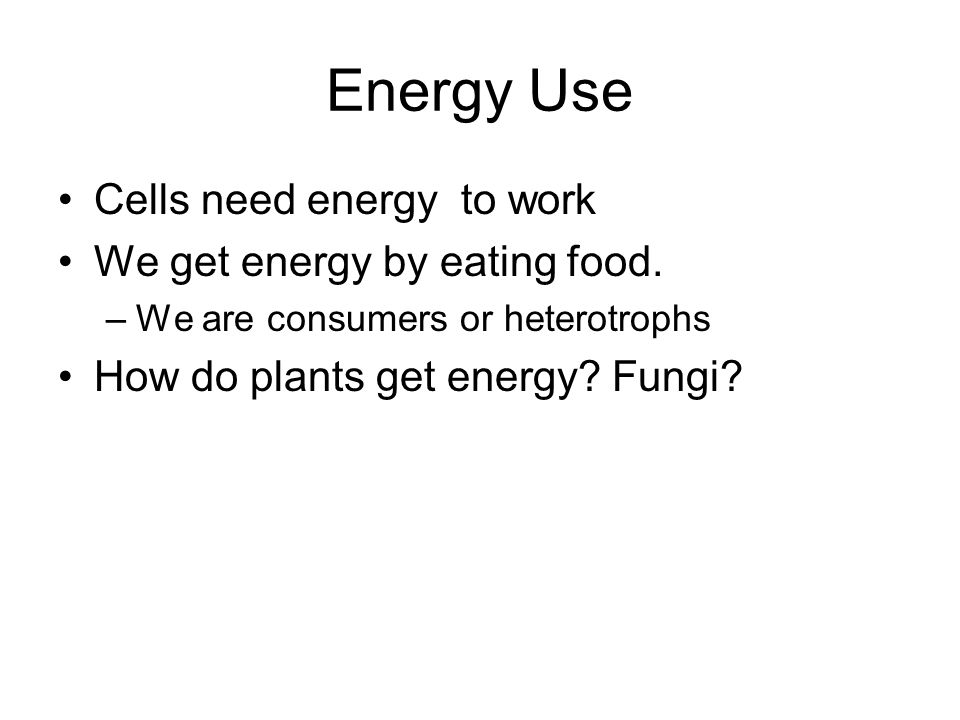 Energy Use Cells need energy to work We get energy by eating food.