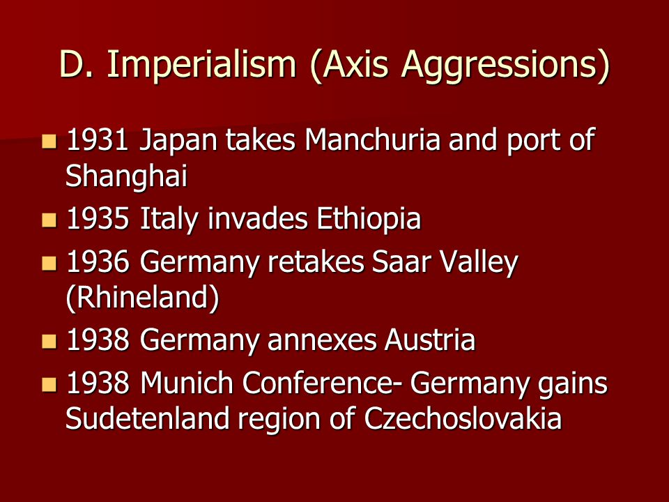 D. Imperialism (Axis Aggressions)