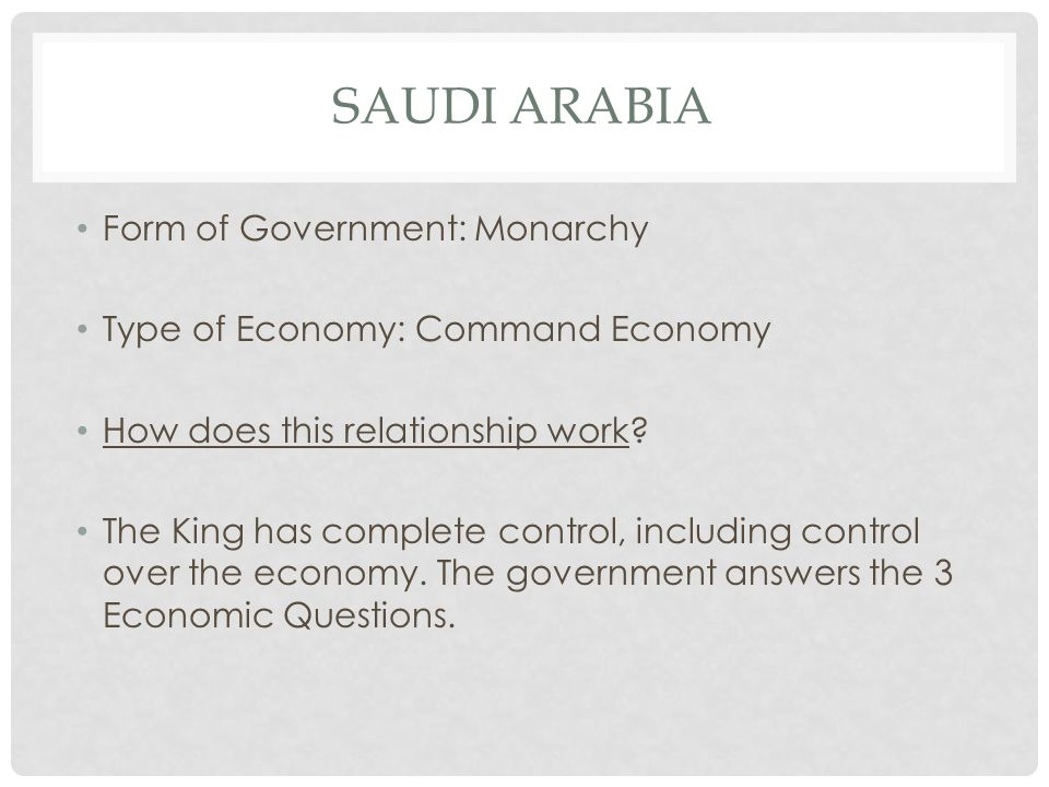 Saudi arabia Form of Government: Monarchy