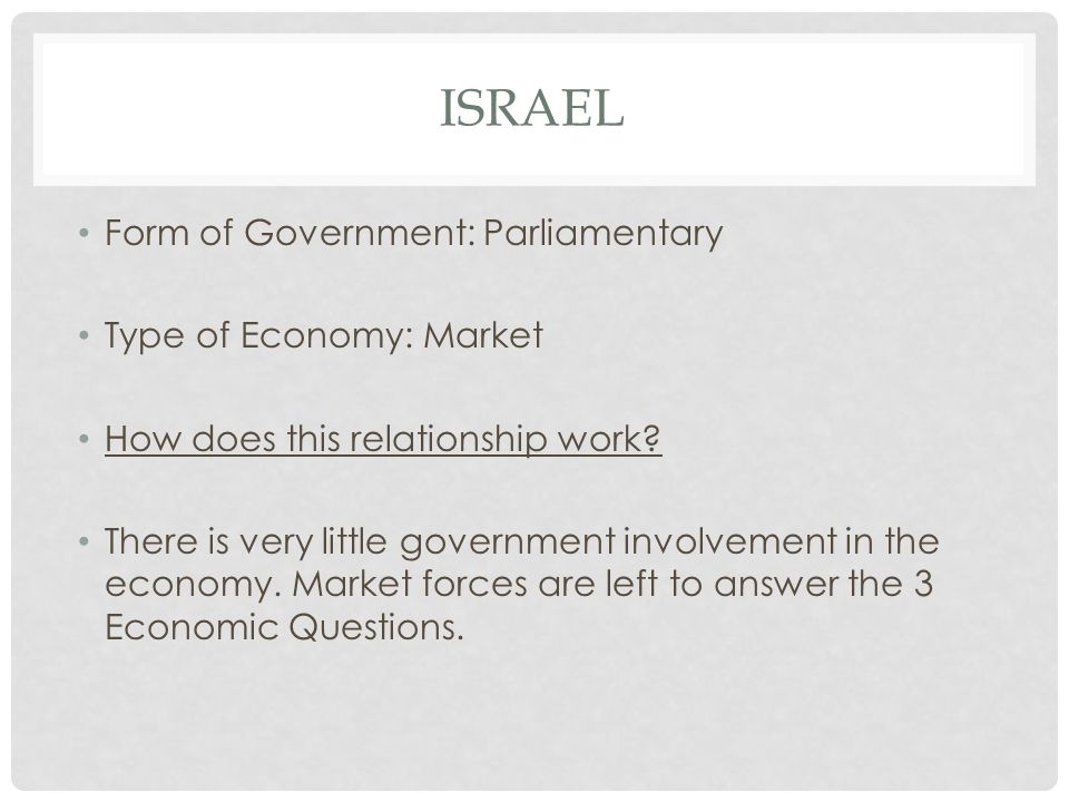Israel Form of Government: Parliamentary Type of Economy: Market