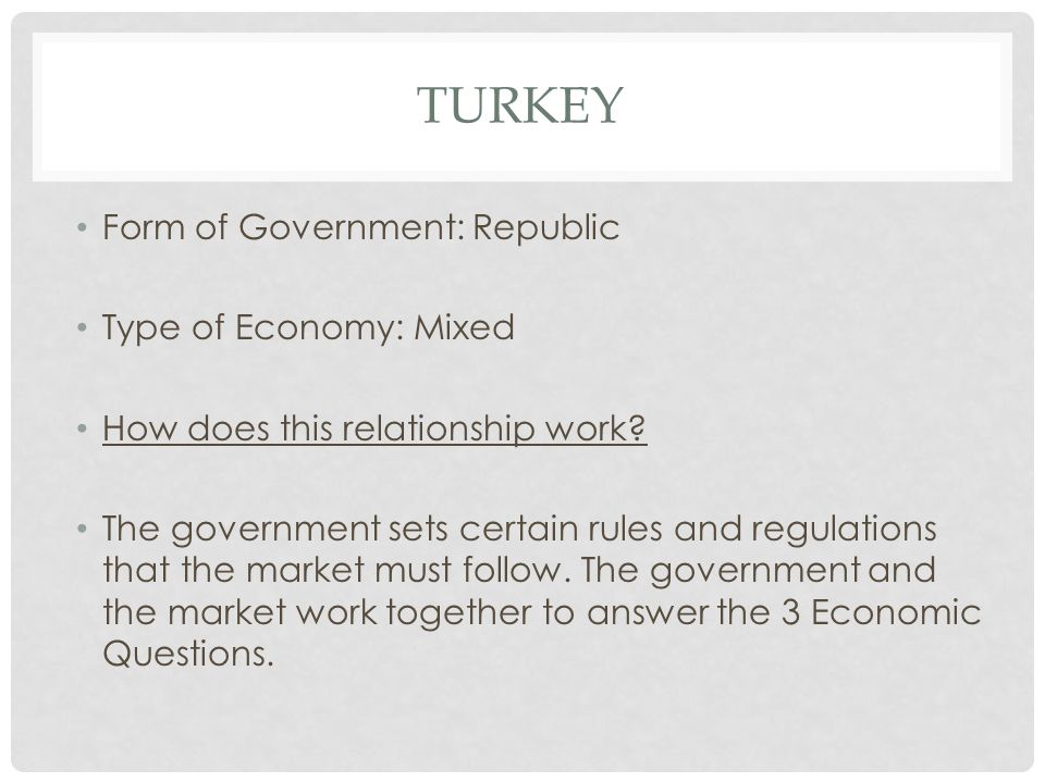 Turkey Form of Government: Republic Type of Economy: Mixed
