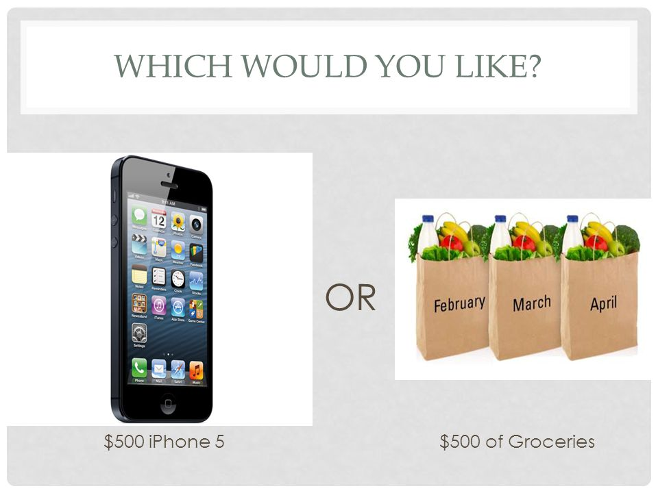 Which would you like OR $500 iPhone 5 $500 of Groceries