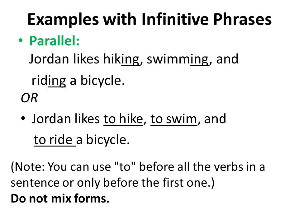 Examples with Infinitive Phrases