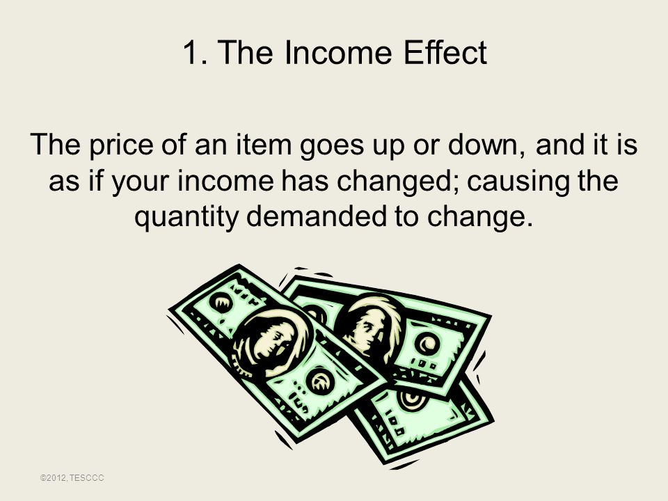 1. The Income Effect The price of an item goes up or down, and it is as if your income has changed; causing the quantity demanded to change.