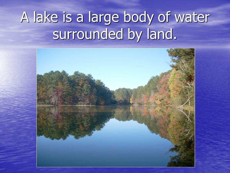 A lake is a large body of water surrounded by land.