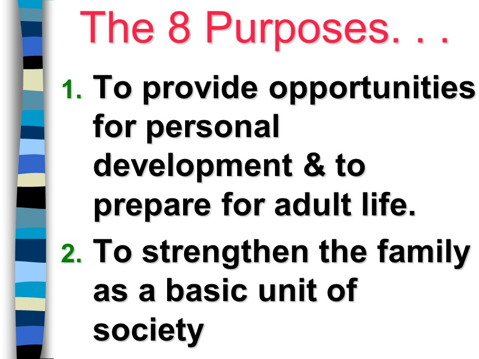 The 8 Purposes. . . To provide opportunities for personal development & to prepare for adult life.