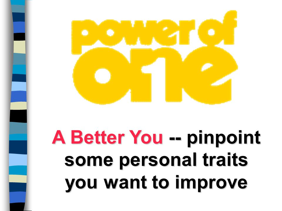 A Better You -- pinpoint some personal traits you want to improve