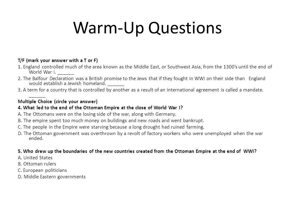 Warm-Up Questions T/F (mark your answer with a T or F)