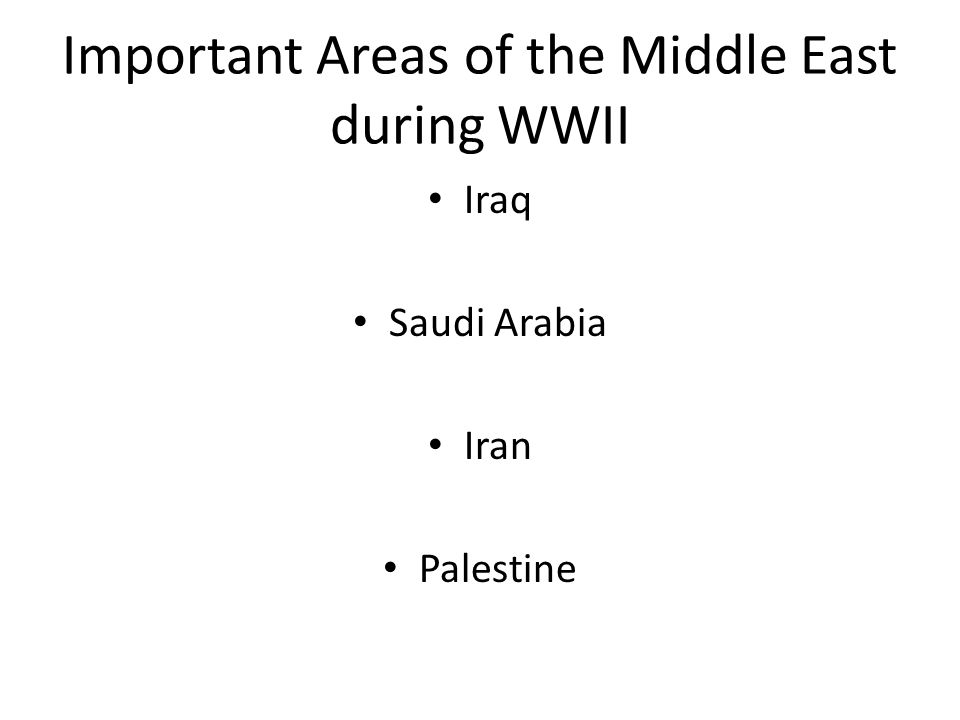Important Areas of the Middle East during WWII